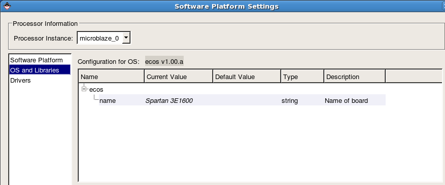 Software platform settings OS & Lib